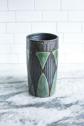 """Silver and Rust Green Vase, 8"""""""