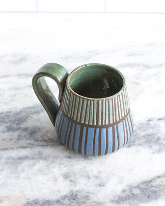 Rust Green and Periwinkle Mug, Striped