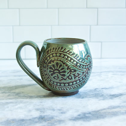 14oz Paisley Mug, Rust Green