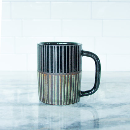 Black and Rust Green Diner Mug, Striped (sold as singles)