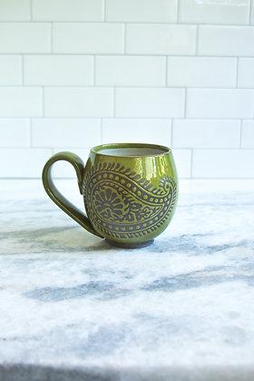 14oz Paisley Mug, Olive Green