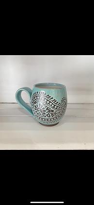 14oz Paisley Mug, Speckled Turquoise