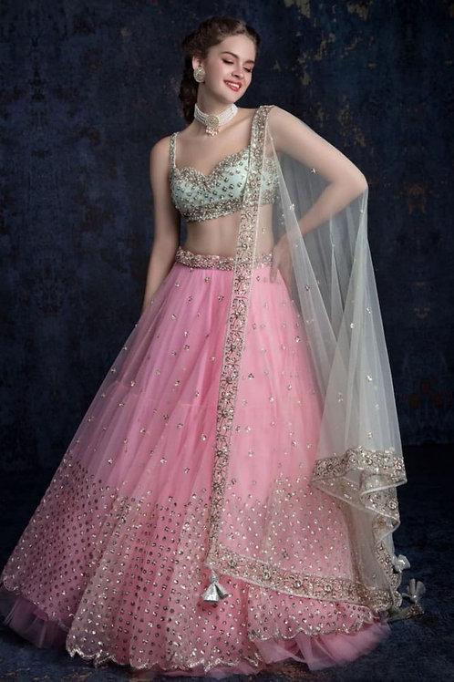 Alluring Sequence Work Pink Lehenga Choli