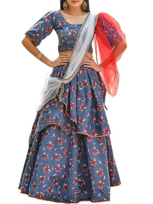 Magnificent Aqua Blue Ghagra Choli Designs With Price