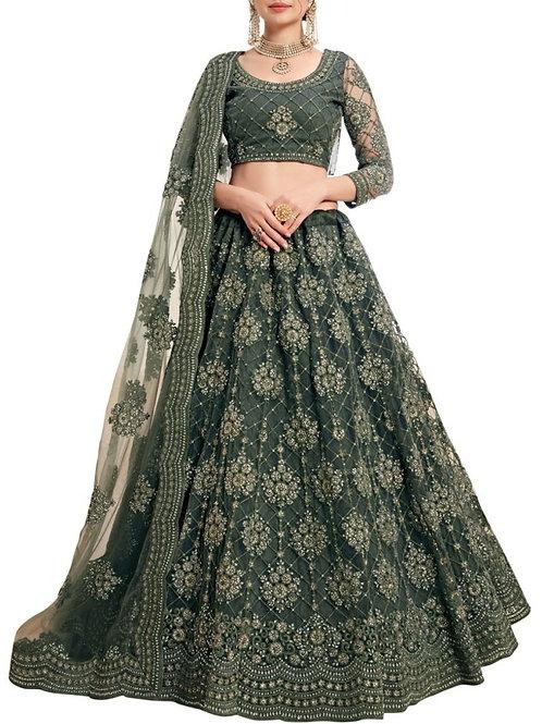 Beautiful Mehendi Green Color Lengha Choli Online Shopping