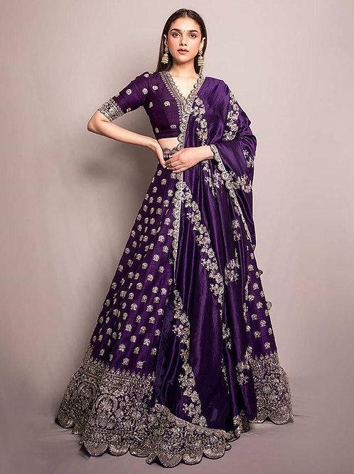 Marvelous Banglori Satin Purple Color Lehenga