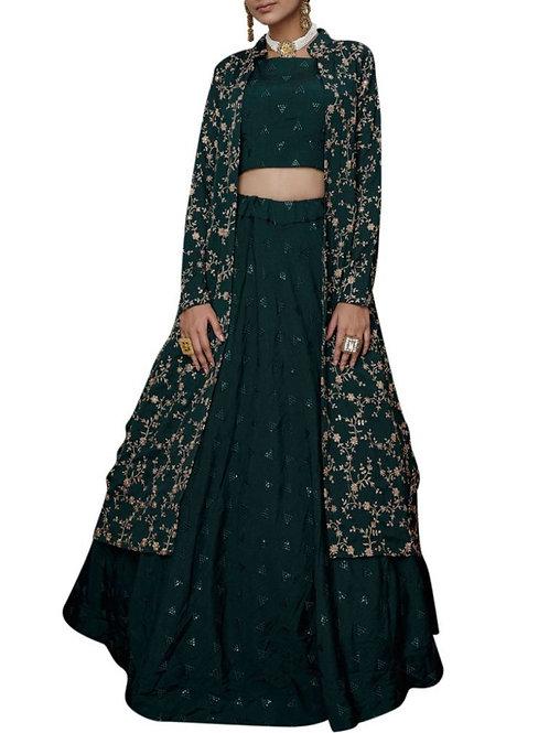 Fashionable Green Color Lehenga Online Shopping