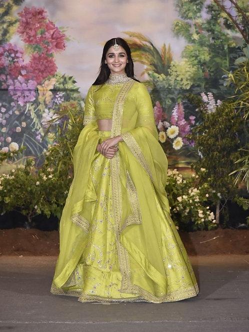 Alia bhatt Wear Green Color Lehenga Choli Online