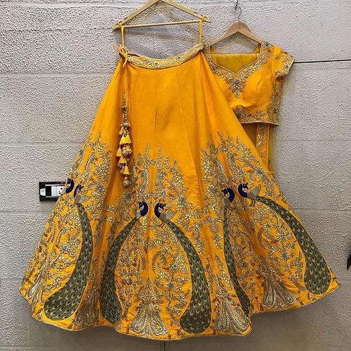 Mustard Yellow Peacoke Pattern Embroidery Lehenga Choli