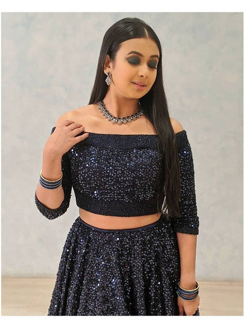 Mind Blowing Navy Blue Lehenga With Price