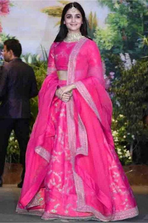 Alia Bhatt Wear Thai Silk Pink Lehengas