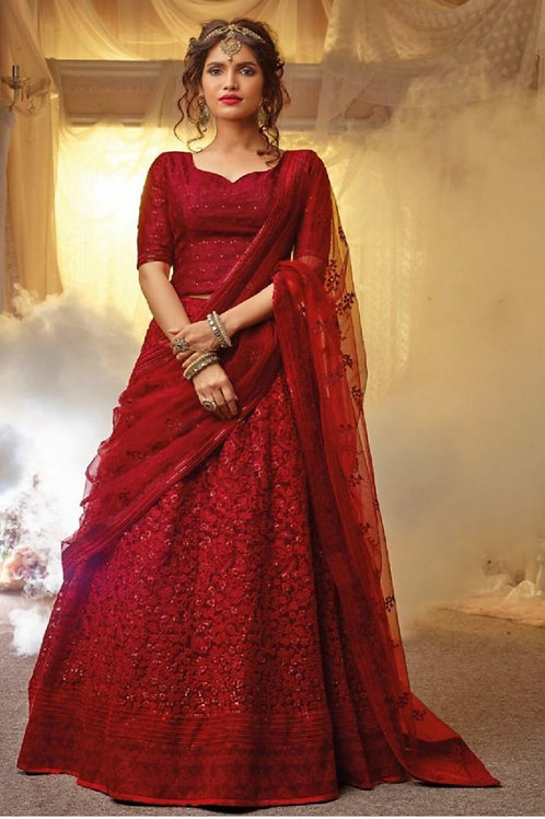Glorious Red Color Lehenga Choli