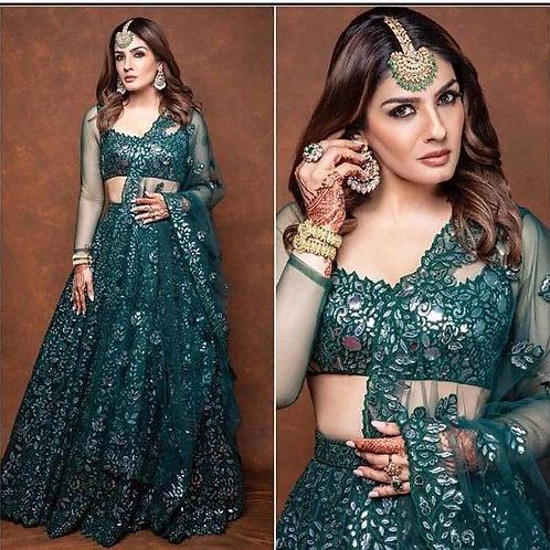 Ravina Tandon Wear Firozi Wedding Lehenga Choli