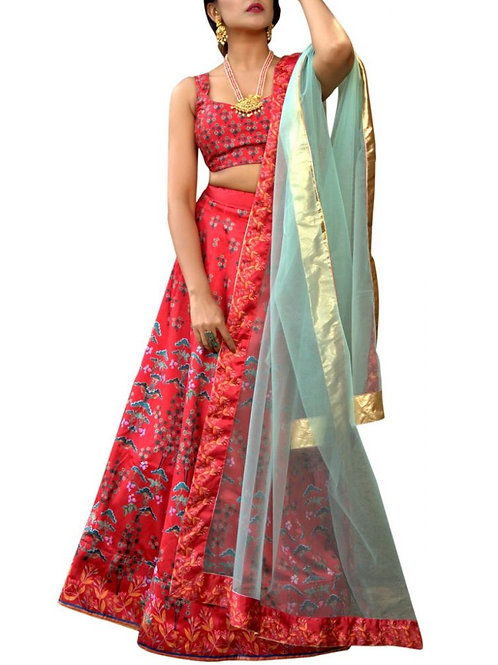Fancy Red Color Zari Work Lehenga Choli Online