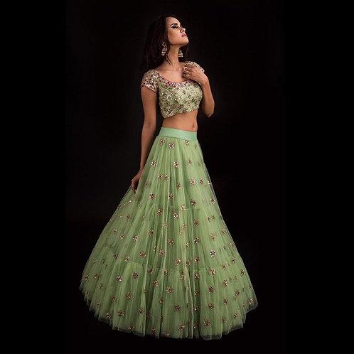 Excellent Pista Green Lehenga Choli Online