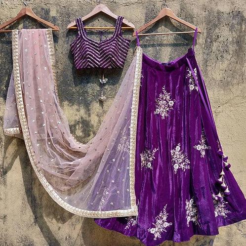 Party Wear Purple Color Designer Lehenga Choli