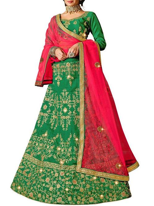 Captivating Green Lacha Lehenga Online India