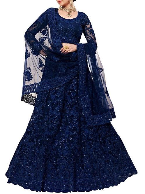 Agreeable Dark Blue Color Simple Lehenga Choli Designs With Price