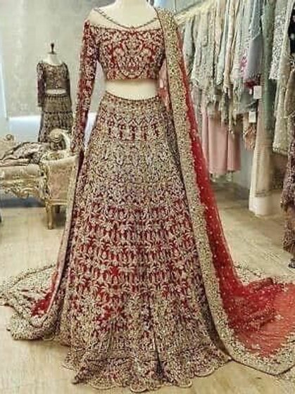 Bridal Goegette And Silk Red Color Lehenga