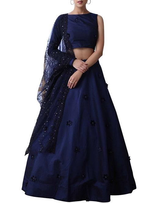 Impressive Navy Blue Color Ghagra Choli Designs