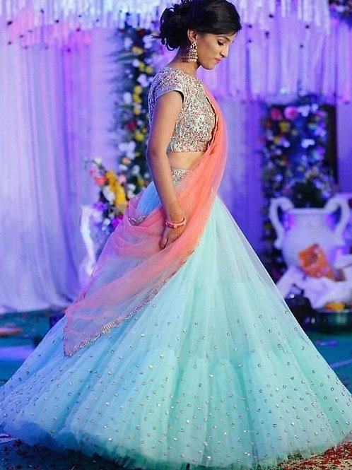 Fabulous Sky blue Color Lehenga Online