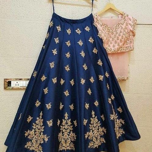 Glamrous Peach And Blue Color Lehenga Online Sale