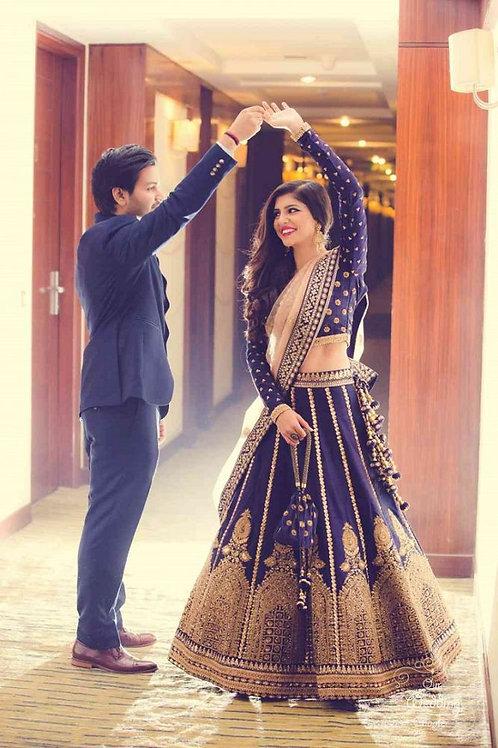 Bridal Wear Navy Blue Color Online Lehenga Choli