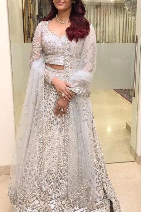 Aishwarya Rai Wear White Color Lehenga
