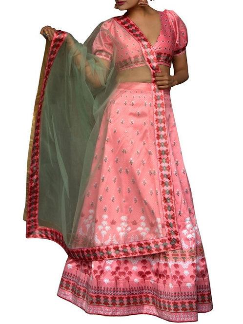 :atest Light Pink Color Satin Online Lehenga Choli