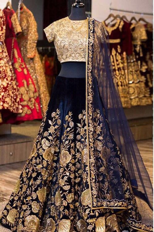 Pleasing Navy Blue Color Velvet Embroidery Lehenga Choli