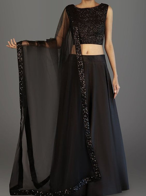 Lovely Black Color Lehenga With Sequin Blouse