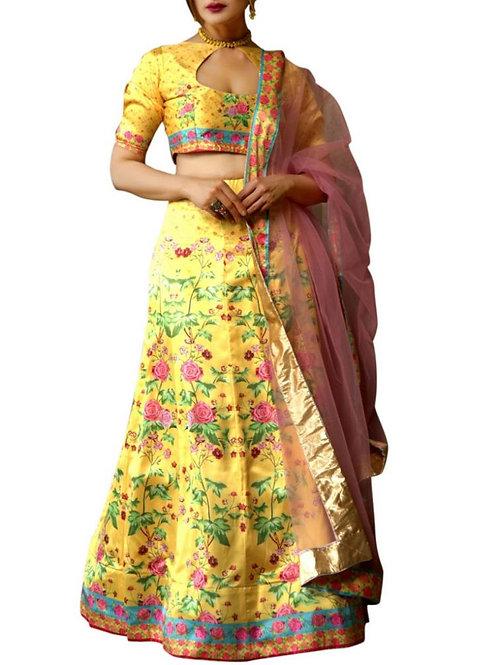 Buy Yellow Color Satin Chaniya Choli