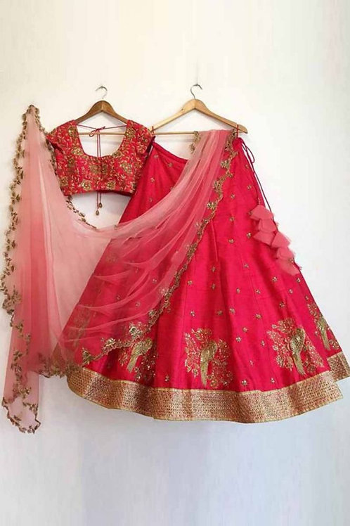 Gratifying Red Color Bird Embroidery Lehenga Choli