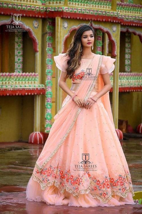 Fabulous Peach Color Fancy Lehenga Choli