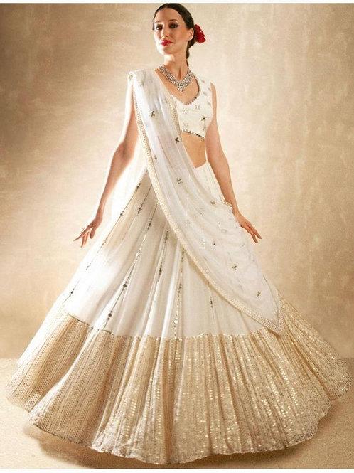 Comely White Wedding Wear Lehenga Choli
