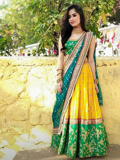 Presentable Yellow And Green Color Lehenga Choli