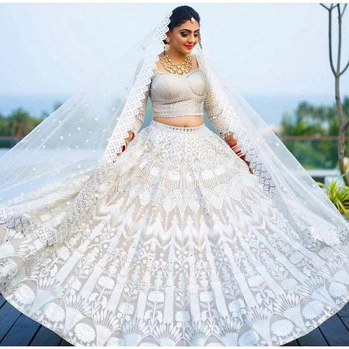 Bridal Wear White Lehenga Choli Online Shopping