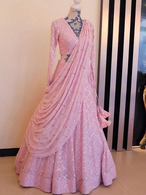 Fancy Light Pink Color Taffeta Silk Lehenga Choli