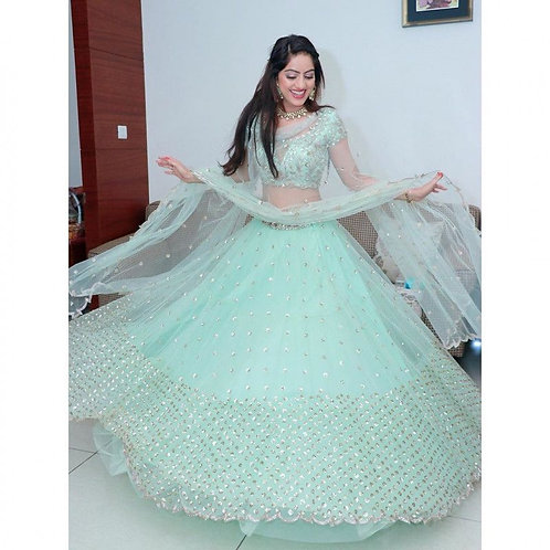 Party Wear Light Blue Designer Lehenga Choli