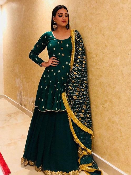 Exquisite Dark Green Color Sharara Style Lehenga