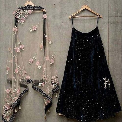 Party Wear Embroidery Black Color Lehenga Choli