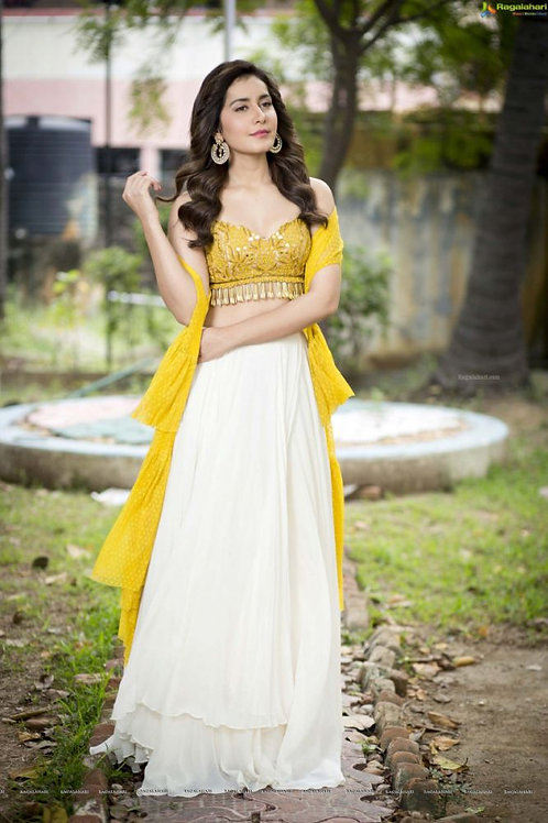 2020 New look wear yellow and white Lehenga Choli