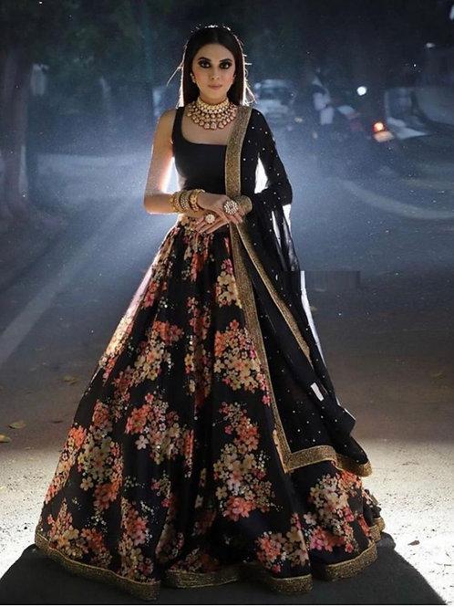 Attarctive Black Color Reception Wear Lehenga Choli