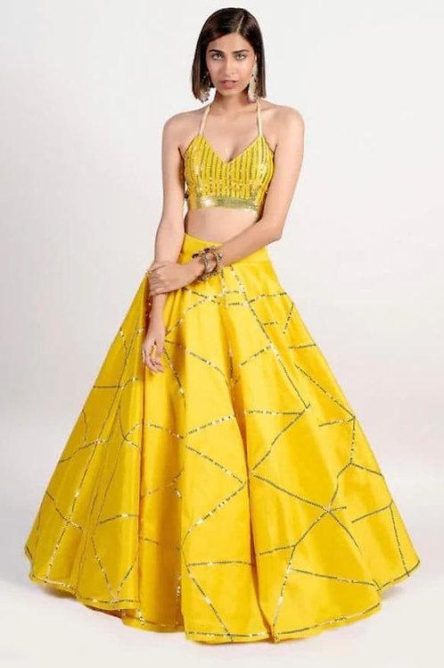 Pithi Wear Yellow Color Lehenga Choli Online