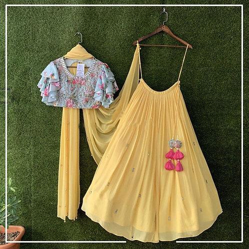 Magnificent Yellow Color Lehenga Choli For Pithi