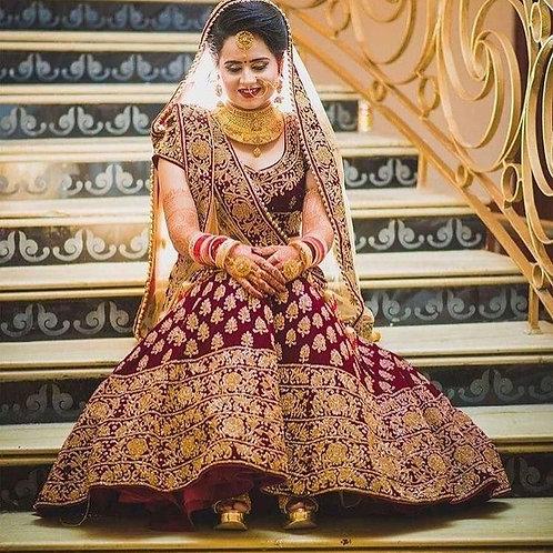Maroon Wedding Wear Lehenga choli