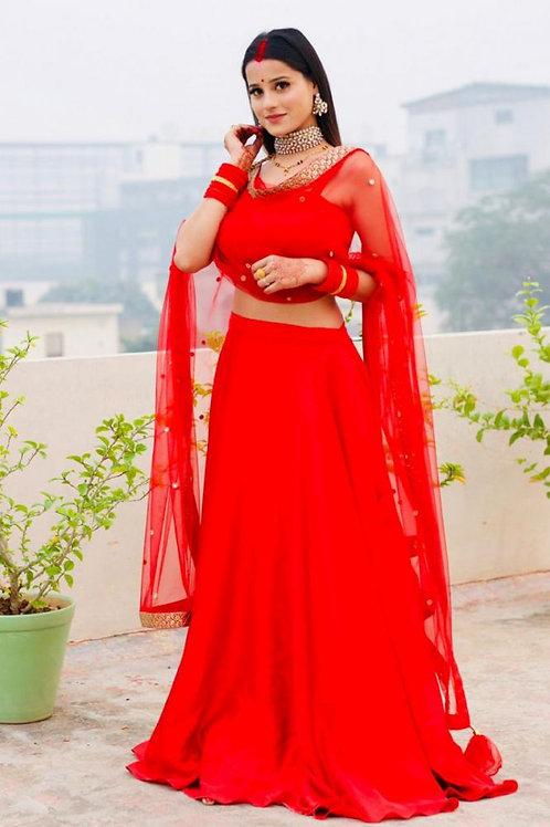 Reception Wear Red Color Taffeta Silk Lehenga