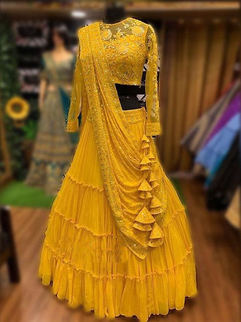 Pleasant Yellow Color Lehenga Choli