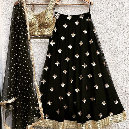 Gorgeous Black Color Net Online Chaniya Choli