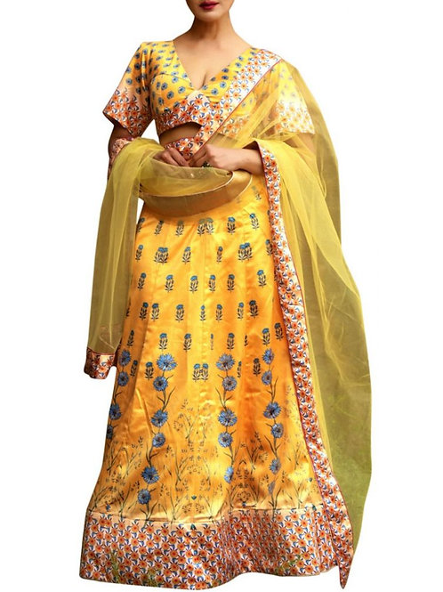 Existence Yellow Color Mehendi Wear Lehenga Choli